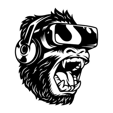 Singe en colère dans le casque de réalité virtuelle en illustration vectorielle de style monochrome vintage isolé Vecteurs