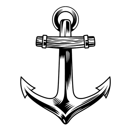 Vintage sea anchor concept in monochrome style isolated vector illustration