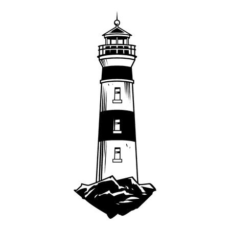 Concetto nautico vintage monocromatico con illustrazione vettoriale isolato faro