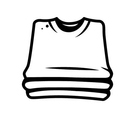 Monochromatyczny stos koncepcji koszul w stylu vintage na białym tle ilustracji wektorowych