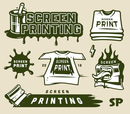 Siebdruckelementsammlung mit industriellen Rakelhemden-Siebdruckfleck-Beschriftungen in der isolierten Vektorillustration des Weinlesestils
