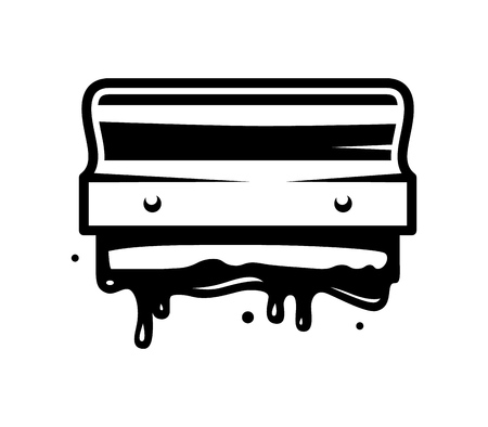 Il modello queegee di stampa dello schermo monocromatico dell'annata con vernice spruzza l'illustrazione di vettore isolata