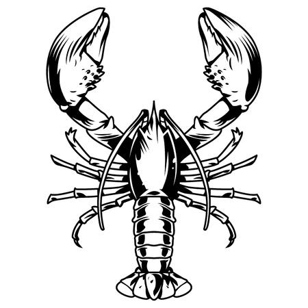 Concept de créature aquatique monochrome vintage avec illustration vectorielle de homard isolé