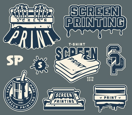 Vintage light screen printing elements set with squeegee shirts silkscreen brush in bucket label letterings isolated vector illustration