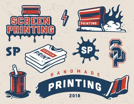 Colección de elementos coloridos de serigrafía vintage con exprimidores industriales pintura salpicaduras camisetas letras aisladas ilustración vectorial Ilustración de vector
