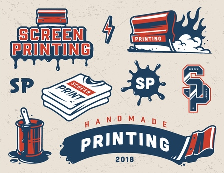 Vintage serigraphy colorful elements collection with industrial squeegees paint splashes shirts letterings isolated vector illustration Иллюстрация