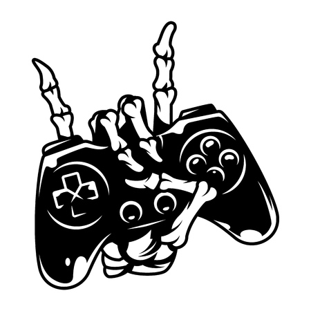 Vintage monochrome gaming concept with skeleton hand holding joystick and showing rock gesture isolated vector illustration Vektorové ilustrace