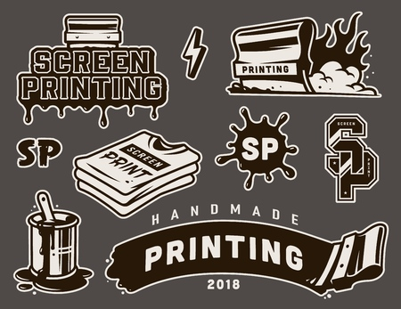 Vintage screen printing elements composition with flaming squeegee brush in bucket can shirts inscriptions isolated vector illustration