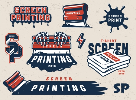 Vintage screen printing elements set with squeegees shirts paint splashes letterings in green and white colors isolated vector illustration