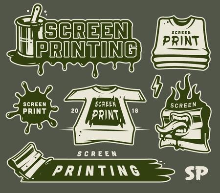 Vintage Serigraphy elements collection Illustration
