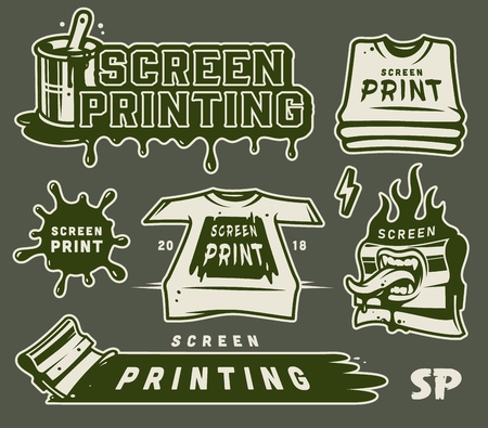 Vintage Serigraphy elements collection Stock Illustratie
