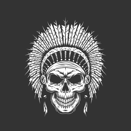Vintage native american indian skull with feathers headwear isolated vector illustration