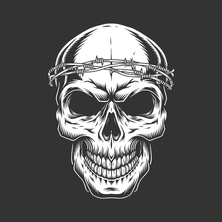 Vintage bald skull with chain headwear in monochrome style isolated vector illustration 向量圖像