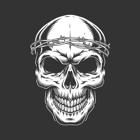 Vintage bald skull with chain headwear in monochrome style isolated vector illustration 版權商用圖片 - 110481432