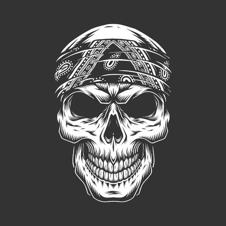 Cráneo de rock and roll con pañuelo en estilo vintage monocromo aislado ilustración vectorial