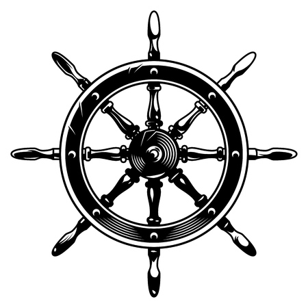 Vintage monochrome ship wheel concept on white background isolated vector illustration