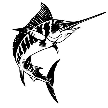 Ilustración de vector aislado de concepto de pez marlin monocromo vintage