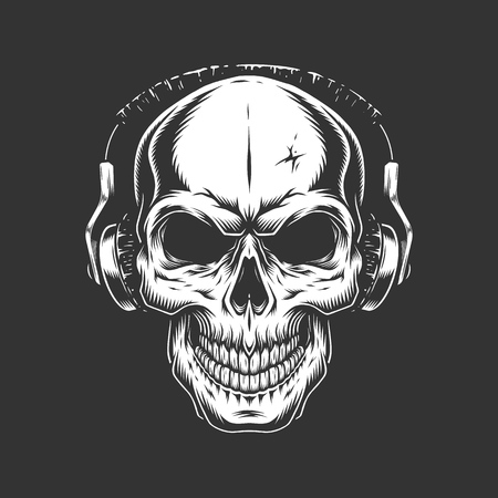 Vintage skull listening music in headphones in monochrome style isolated vector illustration 向量圖像
