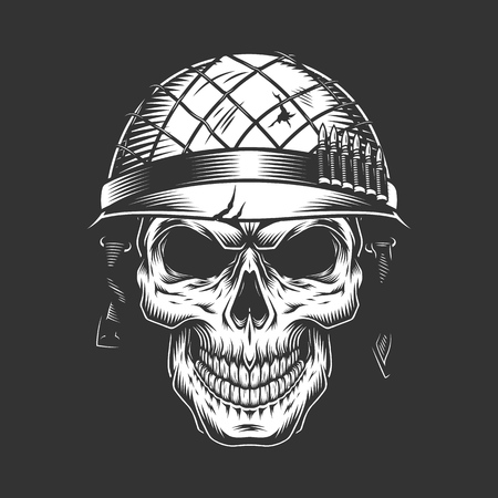 Skull in soldier helmet monochrome concept in vintage style isolated vector illustration