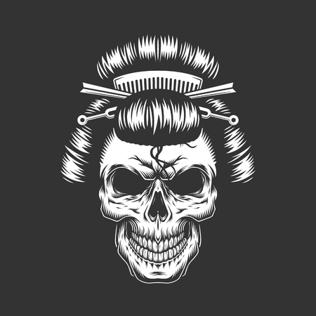 Vintage geisha skull with traditional hairstyle in monochrome style isolated vector illustration