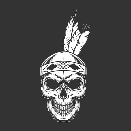 Vintage monochrome indian warrior skull with feathers isolated vector illustration