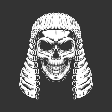 Monochrome skull wearing judge wig in vintage style isolated vector illustration
