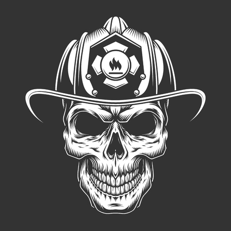 Monochrome vintage fireman skull in helmet isolated vector illustration