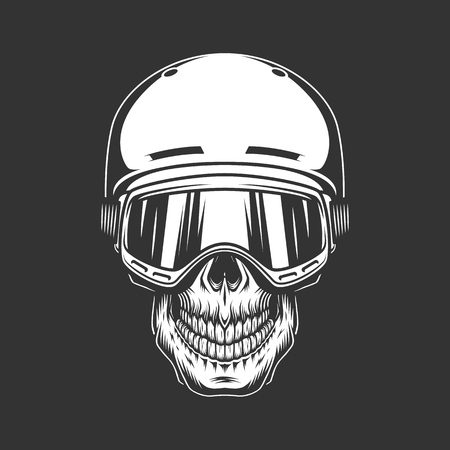 Vintage monochrome snowboarder skull concept in ski goggles and helmet isolated vector illustration