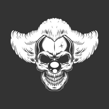 Vintage monochrome creepy angry clown skull isolated vector illustration