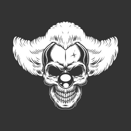 Vintage monochrome creepy angry clown skull isolated vector illustration