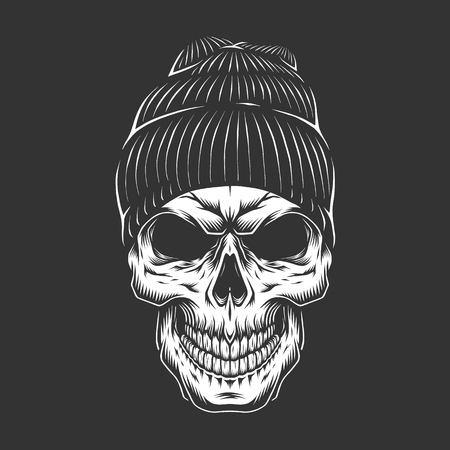 Monochrome vintage skull in hipster hat isolated vector illustration Иллюстрация