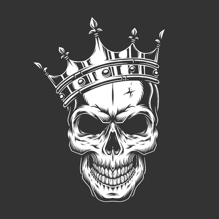 Vintage monochrome prince skull in crown isolated vector illustration Stock Illustratie