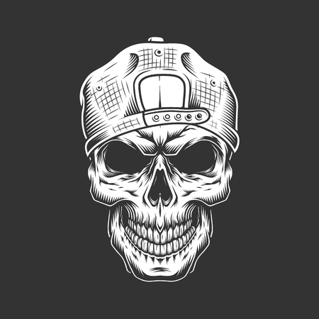 Vintage skull in hipster cap in monochrome style isolated vector illustration