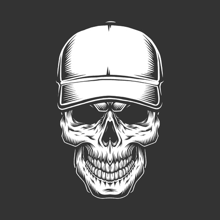 Vintage skull head in baseball cap in monochrome style isolated vector illustration