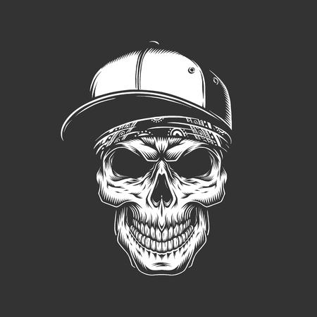 Skull in baseball cap and bandana in vintage monochrome style isolated vector illustration Illustration