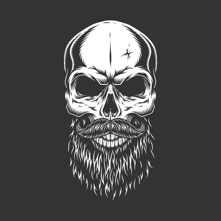 Monochrome skull with beard and mustache in vintage style isolated vector illustration Illustration