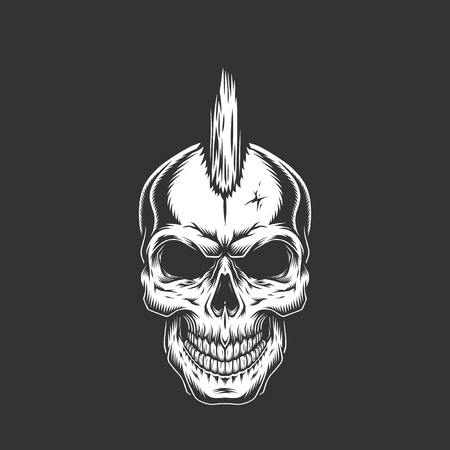 Punk rock skull with iroquois hairstyle in vintage monochrome style isolated vector illustration