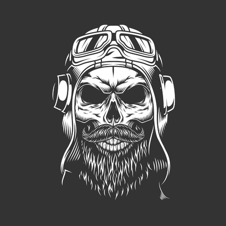 Vintage bearded and mustached pilot skull in helmet and goggles isolated vector illustration