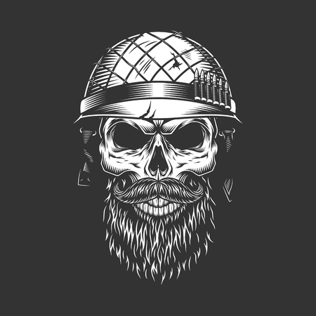 Monochrome vintage soldier skull in helmet with beard and mustache isolated vector illustration