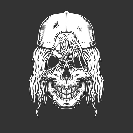 Vintage monochrome skateboarder skull with stylish hairstyle and cap isolated vector illustration