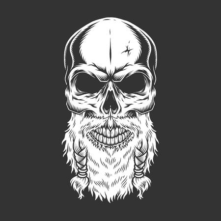 Cráneo escandinavo de popa vintage con barba en estilo monocromo aislado ilustración vectorial Ilustración de vector