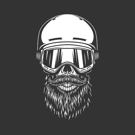 Vintage snowboarder bearded skull wearing helmet and goggles in monochrome style isolated vector illustration Illustration
