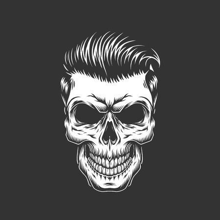 Monochrome skull with hipster hairstyle in vintage style isolated vector illustration Иллюстрация