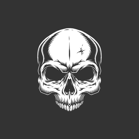 Vintage skull without jaw in monochrome style isolated vector illustration 向量圖像