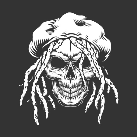 Skull with rastaman hat and dreadlocks in monochrome vintage style isolated vector illustration Ilustração
