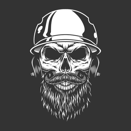 Bearded and mustached baseball player skull in sport helmet in vintage monochrome style isolated vector illustration