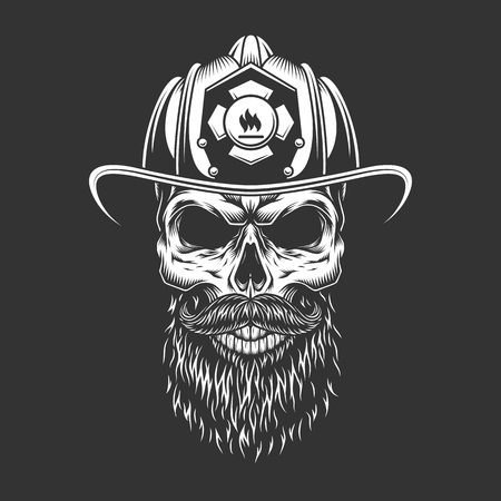 Vintage monochrome firefighter skull in helmet with beard and mustache isolated vector illustration Illustration