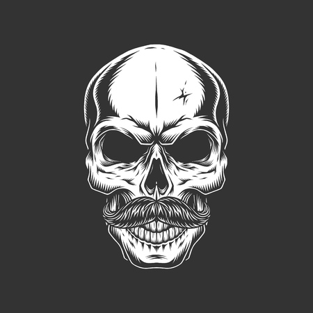 Vintage skull with mustache in monochrome style isolated vector illustration