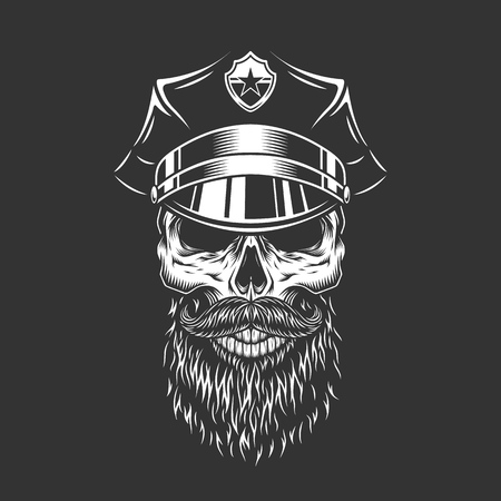 Vintage monochrome police officer skull with beard and mustache in peaked cap isolated vector illustration Illustration