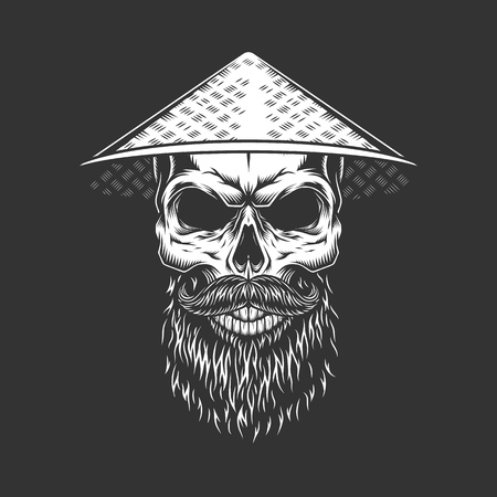 Chinese skull in conical straw hat with beard and mustache in vintage monochrome style isolated vector illustration